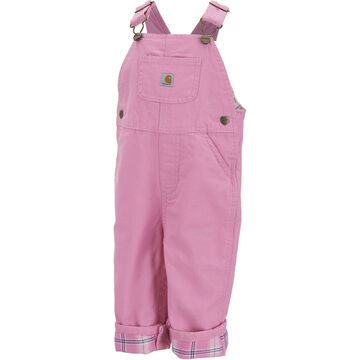 Carhartt Infant/Toddler Girls Washed Microsanded Canvas Flannel-Lined Bib Overall