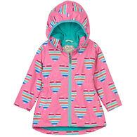 Hatley Girl's Multicolor Hearts Microfiber Rain Jacket