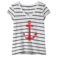 Hatley Little Blue House Women's Striped Anchor V-Neck Sleepshirt