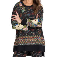 Johnny Was Women's Flower High Low Crew-Neck Long-Sleeve Tunic Shirt