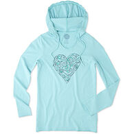 Life is Good Women's Heart Hooded Smooth Long-Sleeve T-Shirt