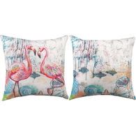 Manual Woodworkers & Weavers Jewels Of The Sea Flamingo Pillow