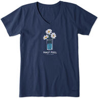Life is Good Women's Half Full Daisy Trio Crusher Vee Short-Sleeve T-Shirt