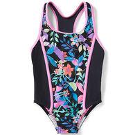 Speedo Girl's Print Blocked One-Piece Swimsuit