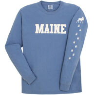 Soft As A Grape Women's Maine Moose Tracks Sleeve Graphic Long-Sleeve T-Shirt