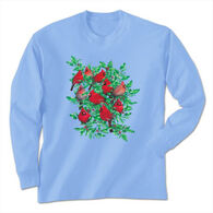 Earth Sun Moon Trading Women's Cardinals and Holly Long-Sleeve T-Shirt
