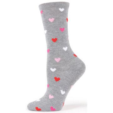MeMoi Womens Delicate Hearts Bamboo Blend Crew Sock
