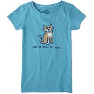 Life is Good Girl's Four Legged Word Cat Crusher Short-Sleeve T-Shirt