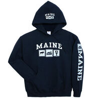 Artforms Men's Triple Maine Moose Cabin Lobster Hooded Sweatshirt