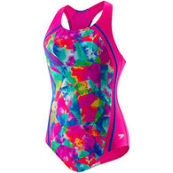 Speedo Girl's Tie Dye Sky Sport Splice One Piece Swimsuit