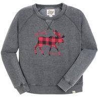 Lakeshirts Women's Blue 84 Up North Maine Moose Sweatshirt