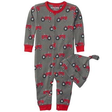 Hatley Infant Boys Little Blue House Farm Tractors Baby Coverall with Hat