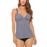 Christina Women's Sea Stream Push Up Draped Tankini Swimsuit Top