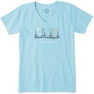 Life is Good Women's Beach Chairs Crusher Vee Short-Sleeve T-Shirt
