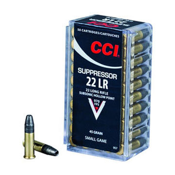 CCI Suppressor 22 LR 45 Grain Subsonic HP Rimfire Ammo (50)