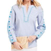Vineyard Vines Women's Pop Embroidered Savannah Popover Long-Sleeve Top