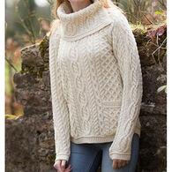 Aran Crafts Women's Shirttail Cowl Irish Sweater