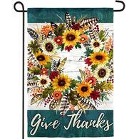 Evergreen Give Thanks Wreath Garden Flag