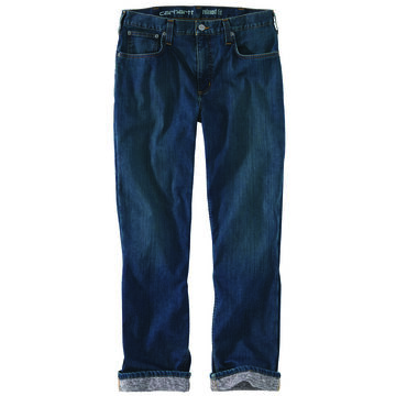 Carhartt Mens Rugged Flex Relaxed Fit Straight Leg Flannel-Lined Jean