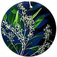 Radiant Art Bright Blue Green Leaves Ornament