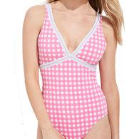 Vineyard Vines Women's Palm Beach Gingham Grosgrain One-Piece Swimsuit