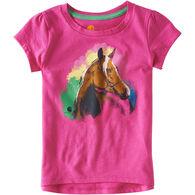 Carhartt Toddler Girl's Watercolor Pink Horse Short-Sleeve T-Shirt