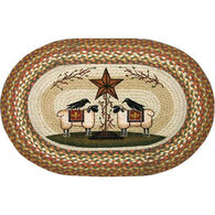 Capitol Earth Sheep And Barn Star Oval Braided Rug
