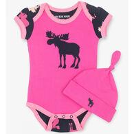 Hatley Infant Girls' Raspberry Moose Baby Bodysuit with Hat