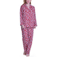La Cera Women's Flannel Sheep Print Pajama Set