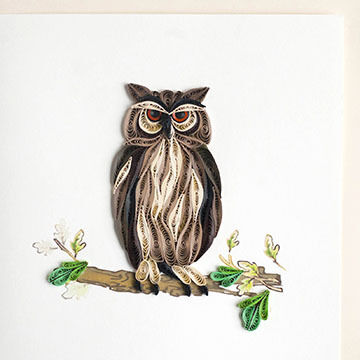 Quilling Card Great Horned Owl Everyday Card