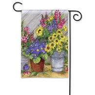 BreezeArt Blossom Buckets Decorative Garden Flag