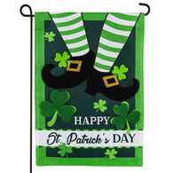 Evergreen Leprechaun Shoes Burlap Garden Flag