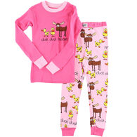 Lazy One Toddler Girl's Duck Duck Moose Pink PJ Set