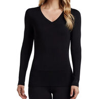 Cuddl Duds Women's Softwear Lace Edge V-Neck Long-Sleeve Baselayer Top
