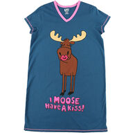Lazy One Women's Moose Have A Kiss V-Neck Nightshirt