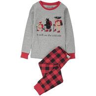 Hatley Boys' Little Blue House Walk On The Wild Side Applique Pajama Set