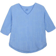 Sea Breeze Women's Embroidered V-Neck 3/4-Sleeve Shirt