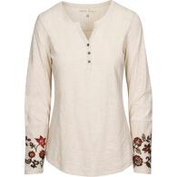 North River Women's Slub Jersey Embroidered Henley Long-Sleeve Shirt