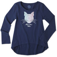 Life is Good Girl's Pawsitive Vibes Cat Scoop Neck Long-Sleeve Swing Shirt