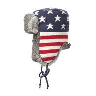 Crown Cap Lambs Wool Knit American Flag Rabbit Trimmed Aviator