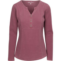 North River Women's Pigment Washed Mini Waffle Notched V-Neck Long-Sleeve Shirt