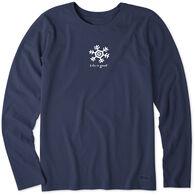 Life is Good Women's Snowflake Vintage Crusher Long-Sleeve T-Shirt