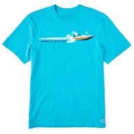 Life is Good Men's Mobile Device Speedboat Wake Crusher-Lite Short-Sleeve T-Shirt