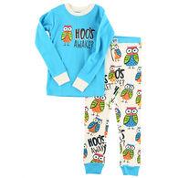 Lazy One Toddler Girl's Hoo's Awake PJ Set