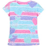 Lakeshirts Girl's Blue 84 Moose Hearts Short-Sleeve T-Shirt