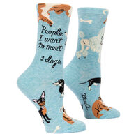 Blue Q Women's People I Want To Meet: Dogs Crew Sock