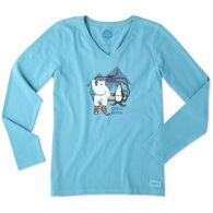Life is Good Women's Bear Penguin Ski Long-Sleeve Crusher V-Neck T-Shirt