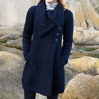 Aran Crafts Women's Large Collar Coat Irish Sweater