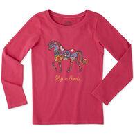 Life is Good Girl's Flower Swirl Horse Crusher Long-Sleeve Shirt