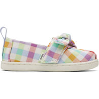 TOMS Toddler Girls' Tiny TOMS Plaid Bow Alpargata Shoe